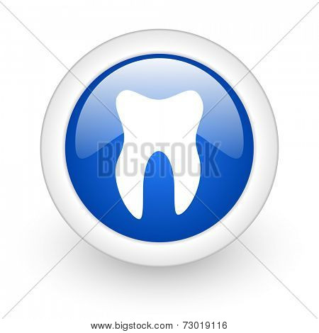 tooth blue glossy icon on white background