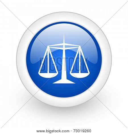 justice blue glossy icon on white background
