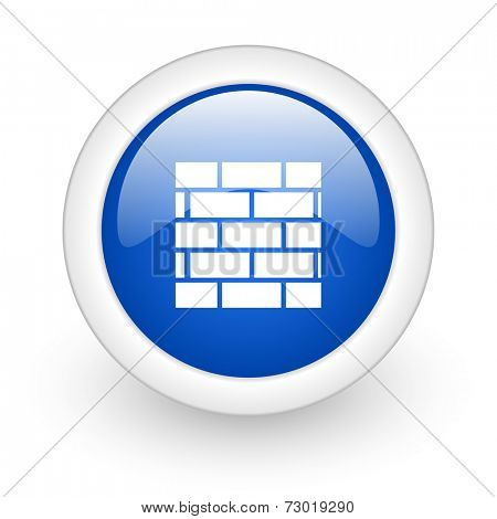 firewall blue glossy icon on white background