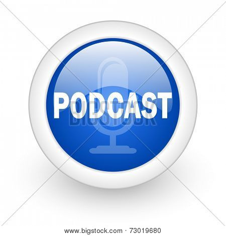 podcast blue glossy icon on white background