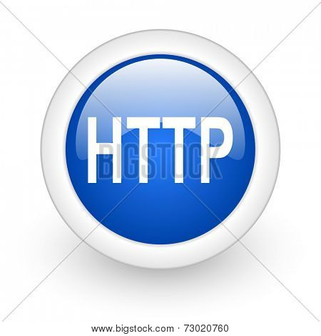 http blue glossy icon on white background