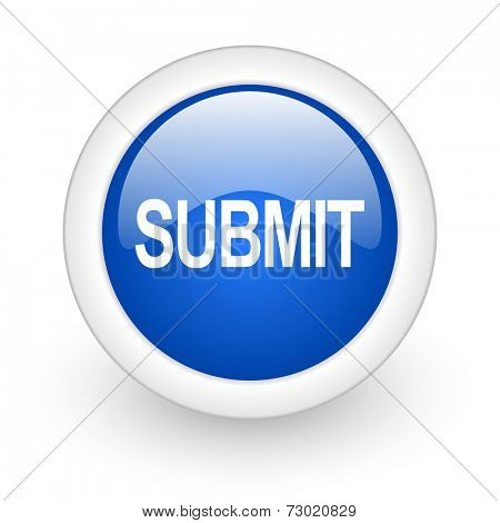 submit blue glossy icon on white background