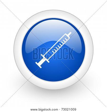 medicine blue glossy icon on white background