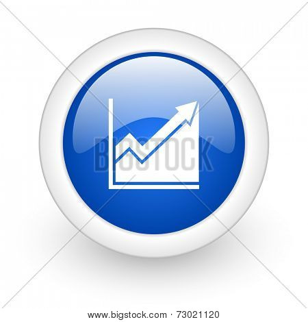 histogram blue glossy icon on white background