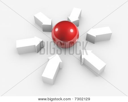 Conceptual Image Of Sphere And Arrows. Isolated.