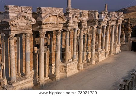 Sunrise on the stage of the ancient amphitheatre in Heirapolis near Pamukkale, Turkey.
