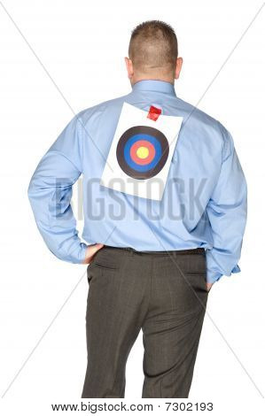 Businessman With Bulls Eye Taped On His Shirt