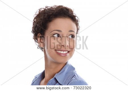 Pretty isolated smiling woman looking sideways to text.
