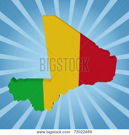 Mali map flag on blue sunburst illustration
