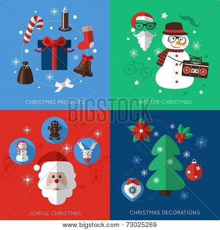 Set of modern style Christmas flat icons compositions.