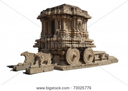 Stone chariot at vittalla temple in hampi;india