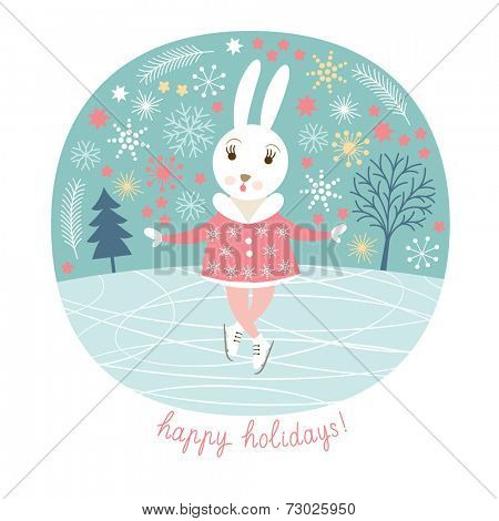 Cute rabbit skates, Christmas background