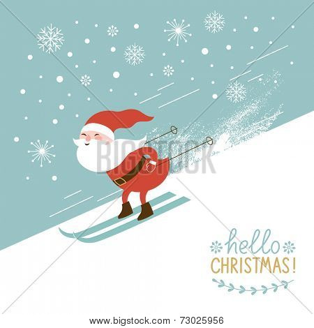 Santa skiing down a mountain slope