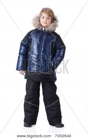 Boy In Fashionable Winter Clothing