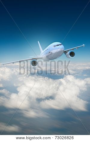 3D rendering of a brandless airplane, flying above the clouds