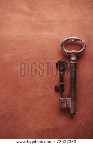 leather surface table with rusty keys , backdrop