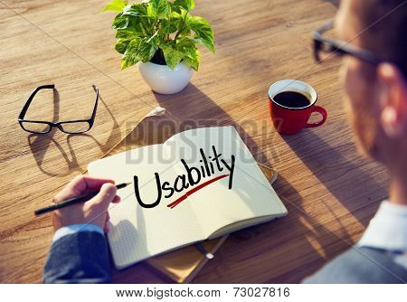 Man with a Note and a Single Word Usability