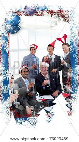Business people with novelty Christmas hat toasting at a party against christmas themed frame