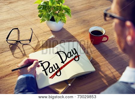 Man with a Note and a Word Pay day