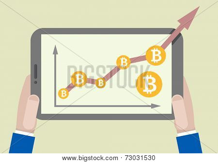 minimalistic illustration of a tablet computer with bitcoin growth graph going out of the screen, eps10 vector