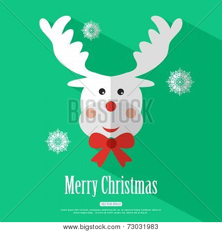 Merry Christmas background with deer Rudolf and place for text. Modern flat design  Vector illustrat