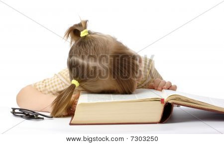 Little Girl Is Sleeping On Book, Back To School