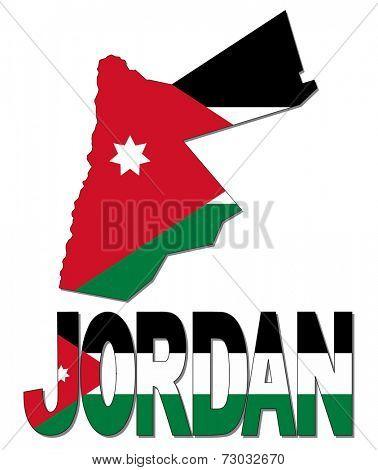 Jordan map flag and text vector illustration