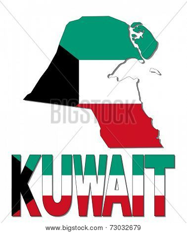 Kuwait map flag and text vector illustration