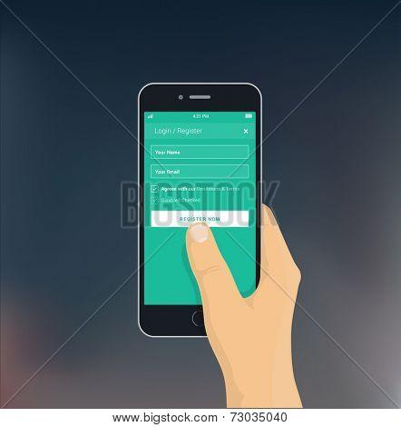 Hand holding phone - flat design illustration for app / mobile web mock-up on blurred background