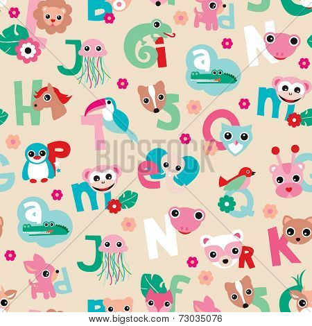 Seamless cute animal kids alphabet abc woodland illustration background pattern in vector