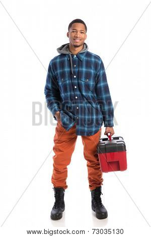 Smiling Young African American  Worker Holding Toolbox Isolated on White Background
