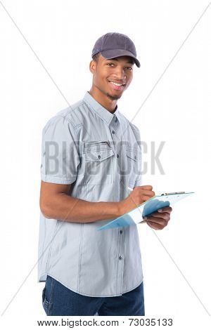 Young African American Service Man Writing on Clipboard  isolated white background