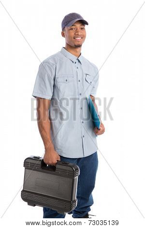Smiling Young African American  Worker Holding Toolbox and Clipboard Isolated on White Background
