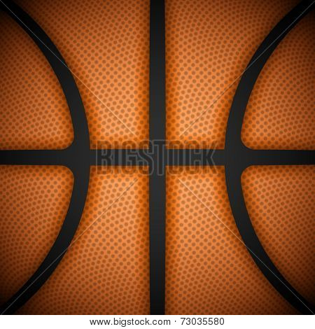 Basketball background, close-up view. Vector illustration.