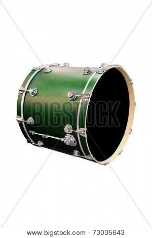 A green drum against a white background