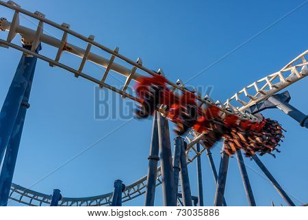 Roller coaster under blue sky in Luna Park Tel Aviv, Israel.