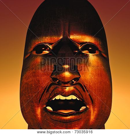 portrait of African dictator on sky background