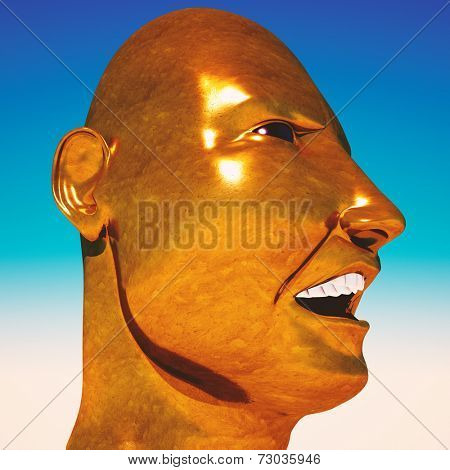 Dictator Mussolini portrait on sky background