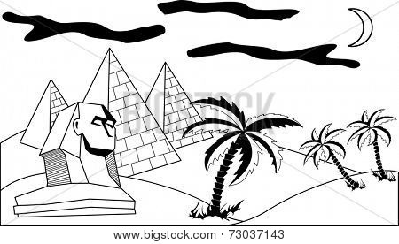 Egyptian landscape, view of the pyramids and the Sphinx.