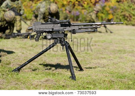 A tripod-mounted 7.62mm general purpose machine gun.