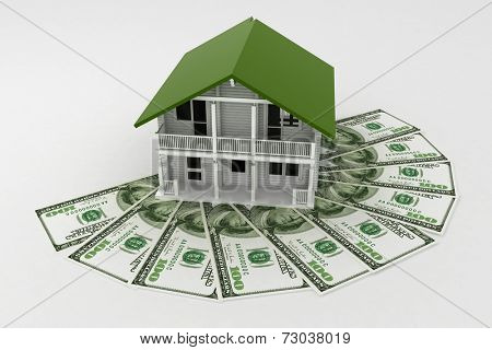 3d house on Pile of money. Conception of growth of mortgage credit.  3d illustration on white background.