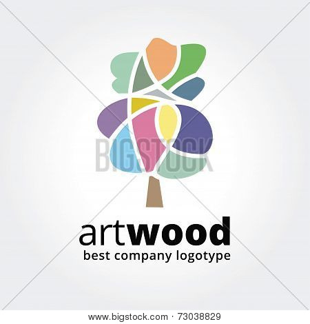 Abstract vector colored tree logotype concept isolated on white background. Key ideas is spa, beauty