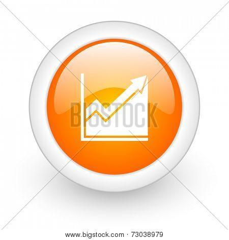 histogram orange glossy web icon on white background