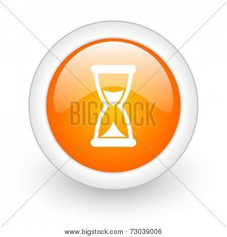 time orange glossy web icon on white background