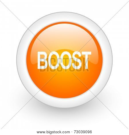 boost orange glossy web icon on white background