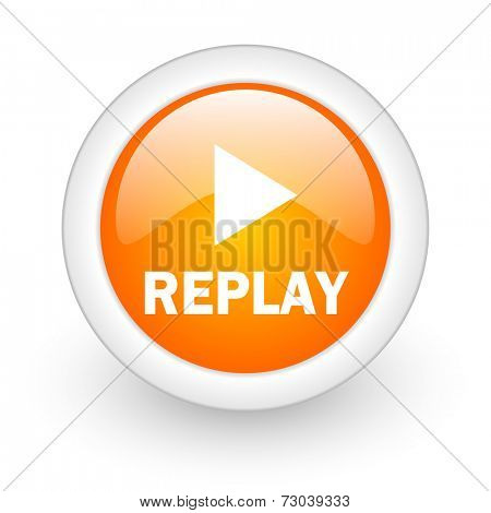 replay orange glossy web icon on white background