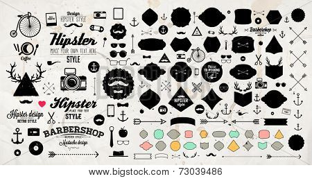 Set of Vintage Hipster Labels, Anchors, Arrows, Deer Antlers, Ribbons, Frames and Icons. Vector Retro Design Elements Collection. Old Paper Texture Background.