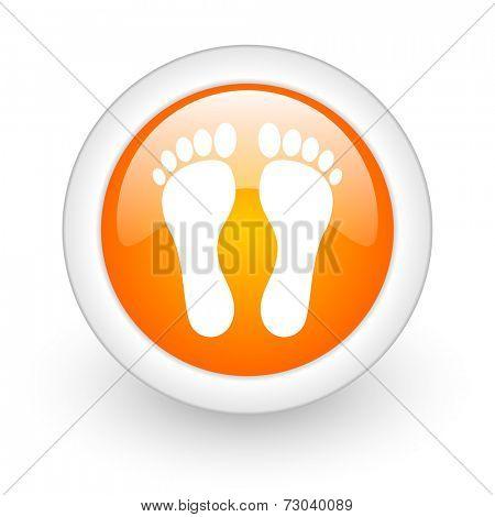 foot orange glossy web icon on white background