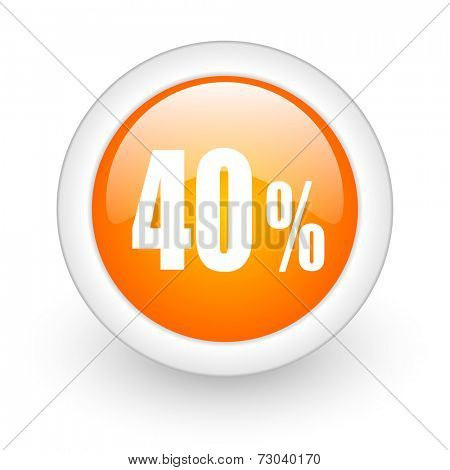 40 percent orange glossy web icon on white background