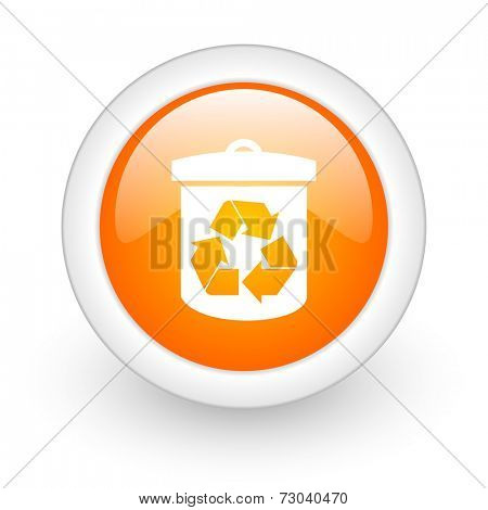 recycle orange glossy web icon on white background